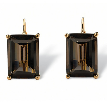 14.50 TCW Emerald-Cut Smoky Quartz Drop Earrings in 18k Gold-Plated