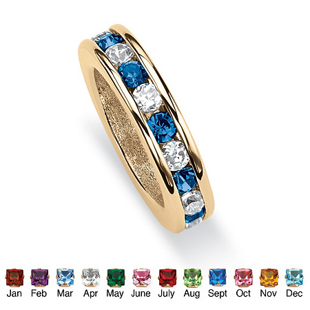 Round Simulated Birthstone 14k Yellow Gold-Plated Baby Ring Charm
