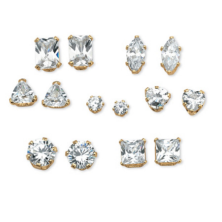 7 Pair Set 8 TCW Cubic Zirconia Stud Earrings in 18k Gold over Sterling Silver