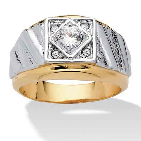 Men's Round Crystal 14k Yellow Gold-Plated Two-Tone Textured Ring