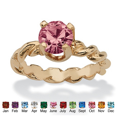 Round Simulated Birthstone 10k Yellow Gold Baby Ring Charm