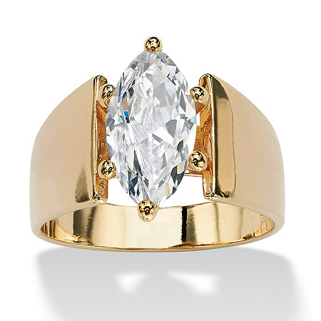 2.48 TCW Marquise-Cut Cubic Zirconia 14k Yellow Gold-Plated Solitaire Ring
