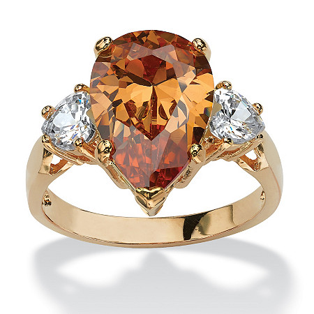 6.41 TCW Pear-Cut Champagne Cubic Zirconia Ring in 14k Gold-Plated