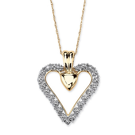 1/10 Carat T.W. Diamond 10k Gold Heart Pendant and Chain