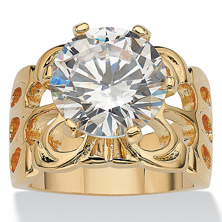 6.00 TCW Round Cubic Zirconia 14k Yellow Gold-Plated Bridal Engagement Filigree Solitaire Ring