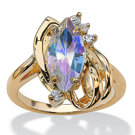 Marquise-Cut Aurora Borealis Crystal Ring in 14k Gold-Plated