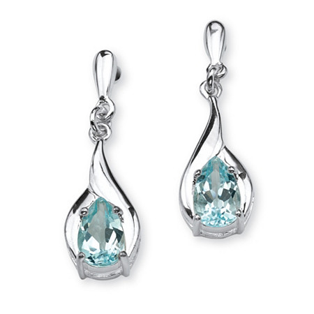 2.20 TCW Pear Cut Blue Genuine Topaz Sterling Silver Drop Earrings