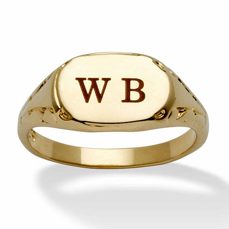 14k Yellow Gold-Plated Personalized Initial Ring