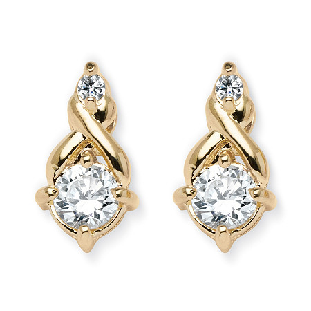 2.62 TCW Round Cubic Zirconia Earrings in Yellow Gold Tone