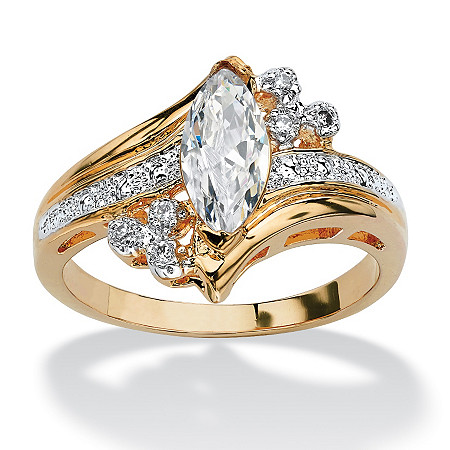 1.03 TCW Marquise-Cut Cubic Zirconia Ring in 14k Gold-Plated