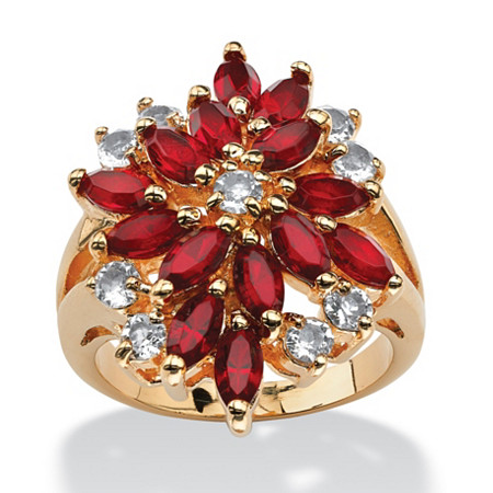 Marquise-Cut Red Crystal and Round White Crystal 14k Yellow Gold-Plated Cocktail Ring