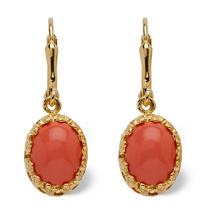 Oval-Shaped Simulated Coral Drop 14k Yellow Gold-Plated Earrings