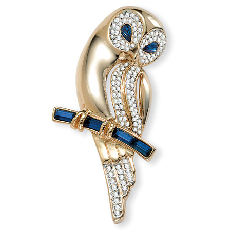 Blue and Clear Crystal Owl Pin in Yellow Gold Tone