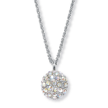 Aurora Borealis Crystal Silvertone Disco Ball Drop Pendant and Chain 20