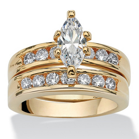 1.78 TCW Marquise-Cut Cubic Zirconia 14k Yellow Gold-Plated Bridal Engagement Wedding Ring Set