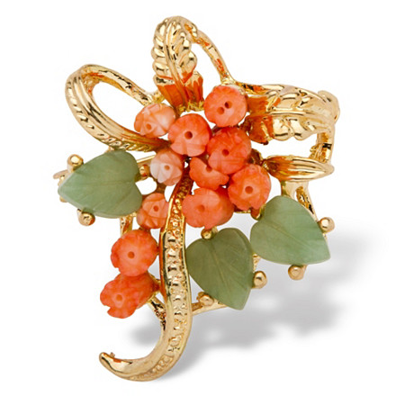 Genuine Coral and Jade Bouquet Pin in Yellow Gold Tone