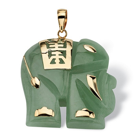 Jade 14k Yellow Gold Good Fortune Elephant Pendant