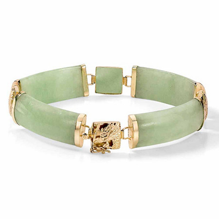 Green Genuine Jade 14k Yellow Gold Macaroni-Link Bracelet 7 1/4
