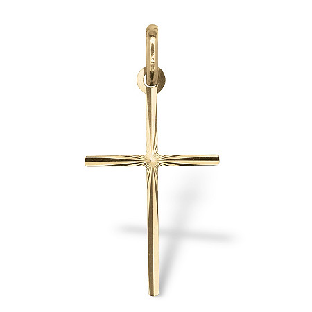 Diamond Cut Cross Pendant in 14k Gold