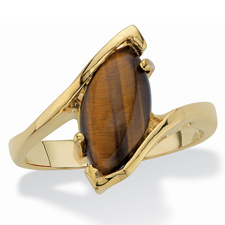 Marquise-Shaped Genuine Tiger's-Eye 14k Yellow Gold-Plated Cocktail Ring