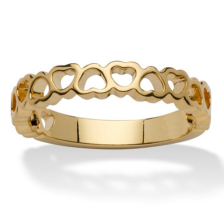 14k Yellow Gold-Plated Circle of Hearts Ring