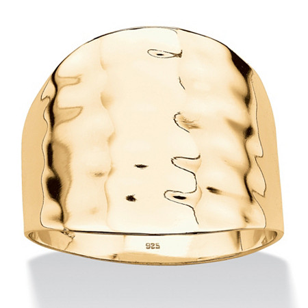18k Gold over Sterling Silver Hammered-Style Cigar Band