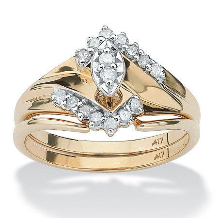 1/5 TCW Marquise-Cut Diamond 10k Yellow Gold Bridal Engagement Wedding Ring Set