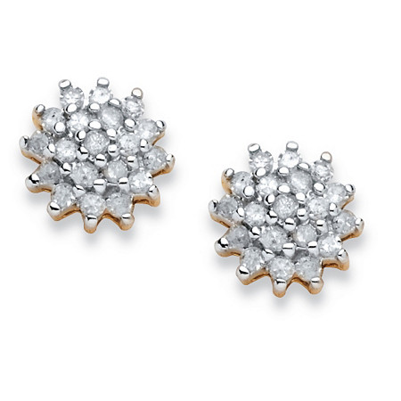 3/8 TCW Diamond Cluster Earrings in 10k Gold