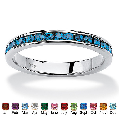 Round Simulated Birthstone Sterling Silver Eternity Band