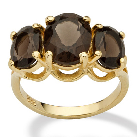 4.90 TCW Oval Cut Genuine Smoky Quartz 14k Yellow Gold Over Sterling Silver 3-Stone Ring