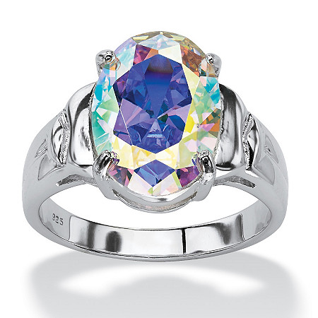 5.81 TCW Oval Cut Aurora Borealis Cubic Zirconia Sterling Silver Cocktail Ring