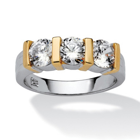 1.50 TCW Cubic Zirconia Bridal Band in Sterling Silver with Golden Accents