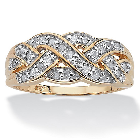 1/4 TCW Round Diamond 10k Yellow Gold Braid Ring