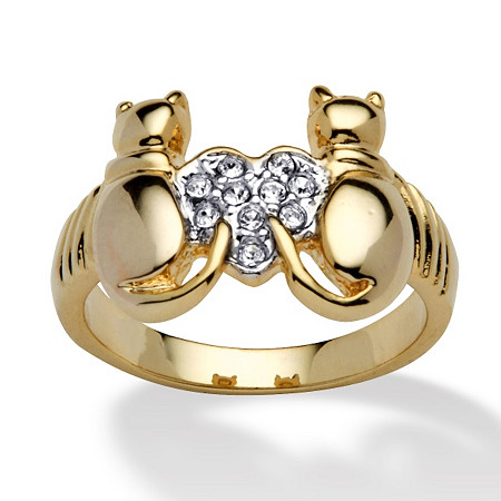 Round Crystal 14k Yellow Gold-Plated Cats and Heart Ring