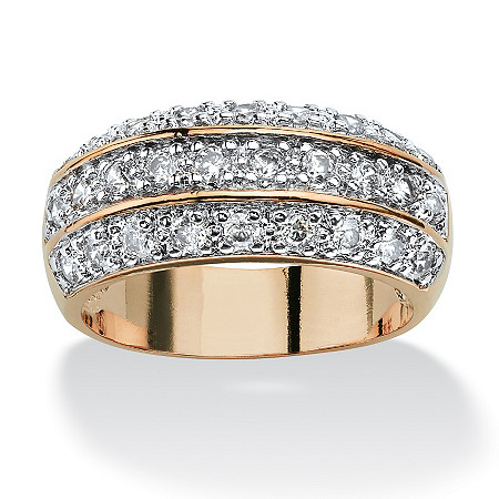 1.68 TCW Round Cubic Zirconia Triple Row Ring in 14k Gold-Plated