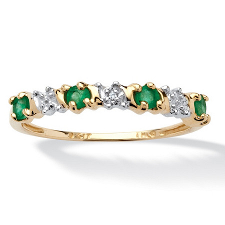 .32 TCW Round Genuine Emerald and Diamond Accent 10k Gold Band Ring