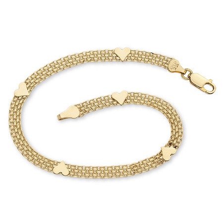 10k Yellow Gold Bismark-Link Heart Bracelet 7 1/4