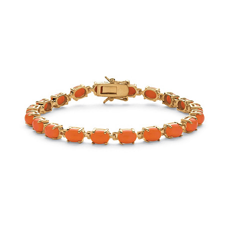 Oval-Cut Coral Tennis Bracelet in 14k Gold-Plated 7 1/2