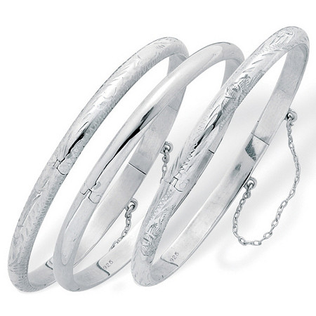 Sterling Silver Polished Engraved and Floral Bangle Bracelets 3-Piece Set 7