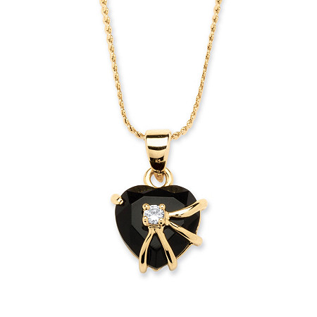 Heart Shaped Onyx with Cubic Zirconia Accent Pendant Necklace in 14k Gold-Plated