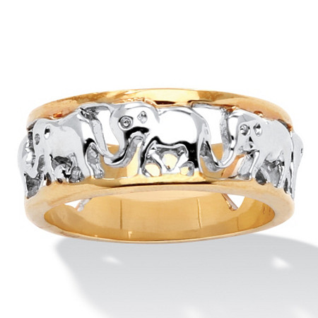 14k Yellow Gold-Plated Two-Tone Elephant Caravan Ring