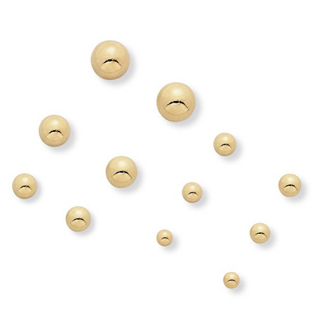 6 Pair Gold Ball Earrings Set in Yellow Gold Tone