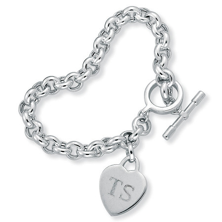 Sterling Silver Rolo-Link Personalized I.D. Heart Charm Toggle Bracelet 8