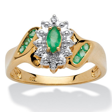 3/8 TCW Marquise-Cut and Round Genuine Emerald Diamond Accent 10k Gold Classic Ring