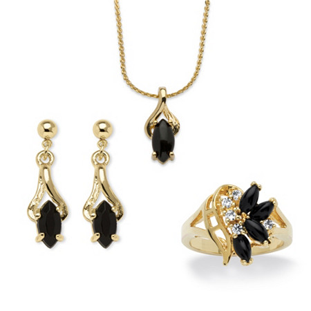 Marquise-Shaped Genuine Onyx 14k Gold-Plated Ring, Earrings, Pendant and Chain Set 18