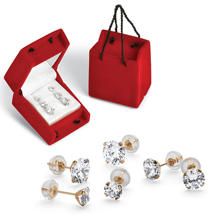5.15 TCW Round Cubic Zirconia 10k Gold Stud 3-Pairs Earrings Set