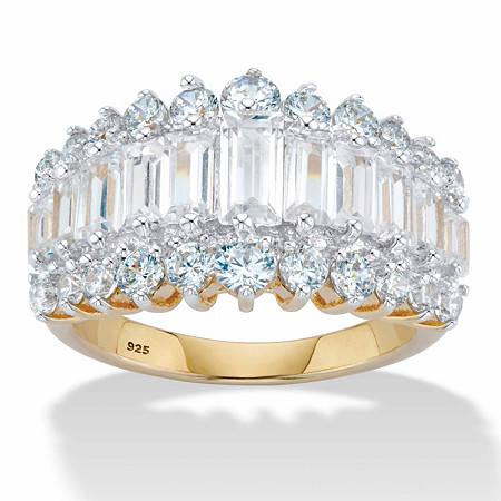 4.38 TCW Emerald-Cut Cubic Zirconia 18k Yellow Gold Over Sterling Silver Engagement Anniversary Ring