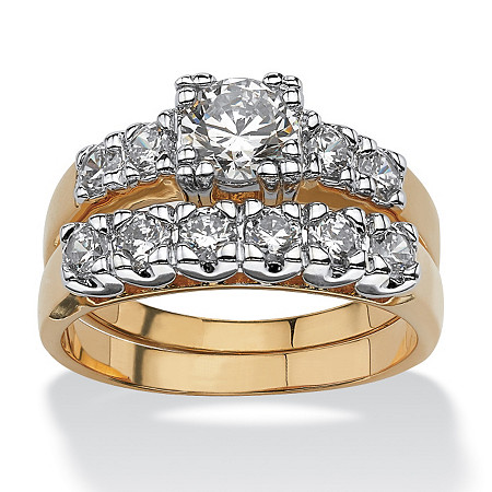 2.15 TCW Round Cubic Zirconia 14k Gold-Plated Wedding Ring Set