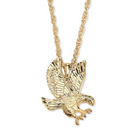 Men's Eagle Pendant and Chain in Yellow Gold Tone 24