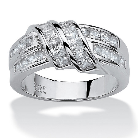 1.54 TCW Princess-Cut Cubic Zirconia Sterling Silver Ring